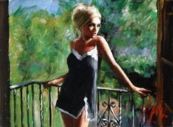 Sally in the Sun (Black Dress) by Fabian Perez -  sized 12x9 inches. Available from Whitewall Galleries